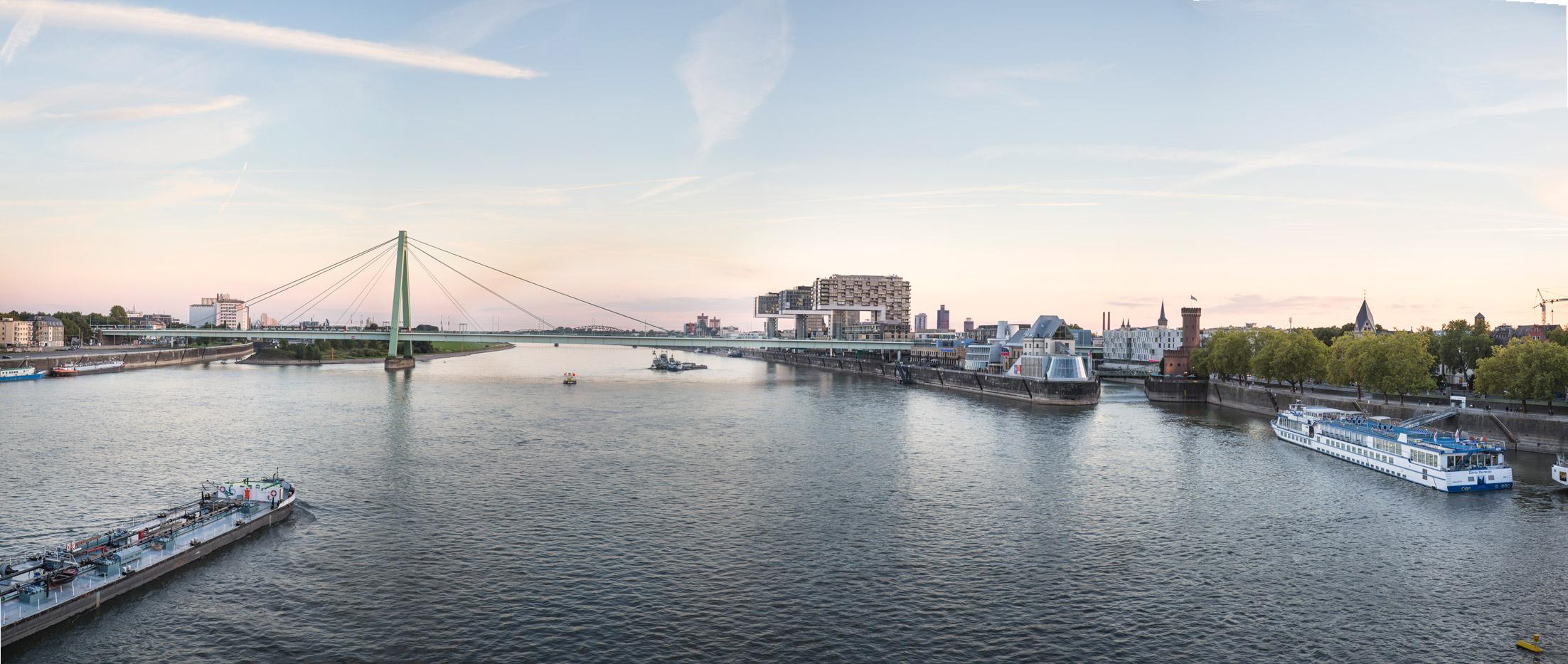 Köln-Panorama Kranhäuser, Severinsbrücke